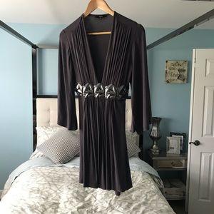 EUC SKY DeepV Gray Purple Silver Embellished Dress